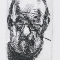 George Wallace - Self Portrait Peering over Half Glasses - drypoint - 1992