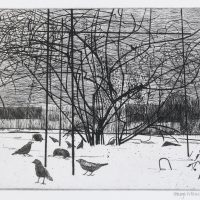 George Wallace - Forsythia in the Snow - etching - 1993