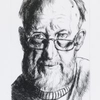 George Wallace - Self Portrait with Half Glasses - drypoint - 1993