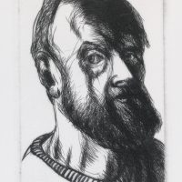 George Wallace - Self Portrait - drypoint - 1993