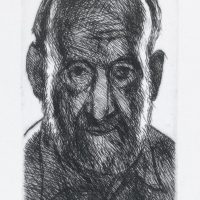 George Wallace - Self Portrait against the Light - drypoint - 1993
