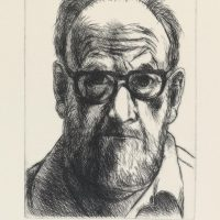 George Wallace - Self Portrait with Horn Rimmed Glasses - drypoint - 1993
