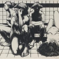 George Wallace - The Turkish Bath - drypoint - 1993