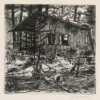 George Wallace - The Cabin at Carlyle Lake - drypoint - 1994