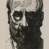 George Wallace - Self Portrait (with hair horns) - etching - 1994