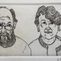George Wallace - Margaret and Me - etching - 1996