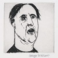 George Wallace - Head of a Man with Open Mouth - drypoint 1980