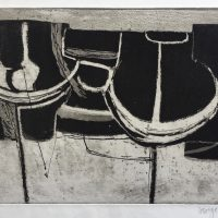 George Wallace - Clay Pit Workings - aquatint & etching worked with pen - 1956