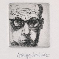 George Wallace - Self Portrait in Horn Rimmed Glasses - etching - 1967