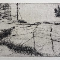 George Wallace - The Lighthouse at Killarney - drypoint - 1973