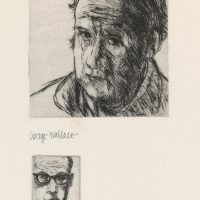 George Wallace - Self Portrait with #47 as a remark - drypoint - 1980