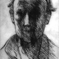 George Wallace - Self Portrait Against the Light - drypoint - 1973
