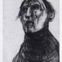 George Wallace - Lazarus Wakes, 1973, drypoint