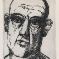 George Wallace - Head of a Bald Man - drypoint - 1982