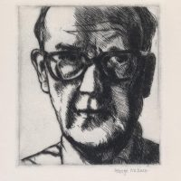 George Wallace - Self Portrait in Horn Rimmed Glasses - drypoint - 1982