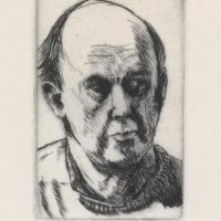 George Wallace - Self Portrait Looking to the Left - drypoint - 1983
