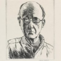 George Wallace - Self Portrait with Half Glasses - drypoint - 1983