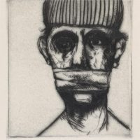 George Wallace - Gagged Man - drypoint - 1982