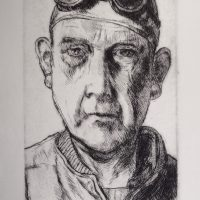 George Wallace - Self Portrait with Welding Goggles - drypoint - 1982