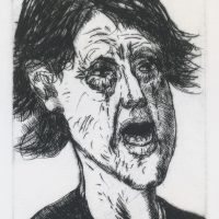 George Wallace - Woman Crying - drypoint - 1983