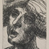 George Wallace - Woman's Head - soft ground etching 1983