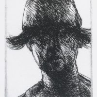 George Wallace - Boy in a Leather Cap - drypoint - 1985