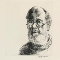 George Wallace - Self Portrait with Beard and Half Glasses - drypoint - 1989