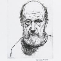 George Wallace - Self Portrait with Beard Looking Down - drypoint - 1989