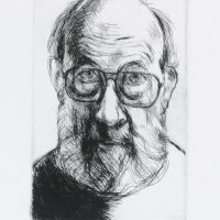 George Wallace - Self Portrait with Glasses - drypoint - 1991