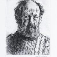 George Wallace - Self Portrait in Aran Jersey - drypoint - 1991