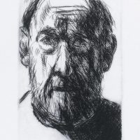 George Wallace - Christmas Self Portrait I - drypoint - 1991