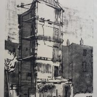 George Wallace - Bombed Hotel in Eastbourne - monotype - 1950
