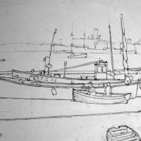 George Wallace - Fishing Harbour, Falmouth, c.1950, pencil