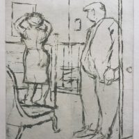 George Wallace - Man and a Woman - monotype - 1950