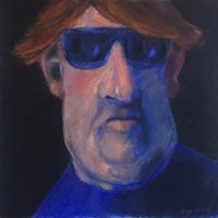 George Wallace - Large Man with Sunglasses, pastel