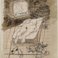 George Wallace - The Spirit is Willing but the Flesh is Weak, 1995, pen and wash