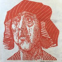 George Wallace - #83 - Weeping Woman, 1983, woodcut printed in red