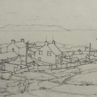 George Wallace -Dublin Bay from the Dalkey Quarries with Squatters Houses, 1948, pencil