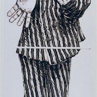 George Wallace - Self Portrait in Striped Pyjamas, 1992, monotype