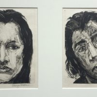 George Wallace - M368–Head of a Young Man & M369–Head of an Angry Woman, 1996, two monotypes