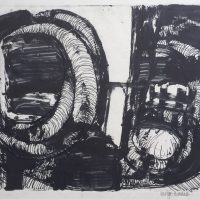 George Wallace - Pit Workings, monotype worked with pen & ink